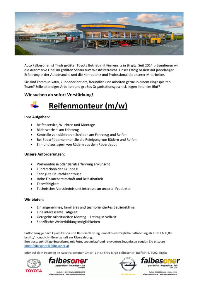 Reifenmonteur (m/w) im Bezirk Innsbruck-Land - Bewirb dich auf ...