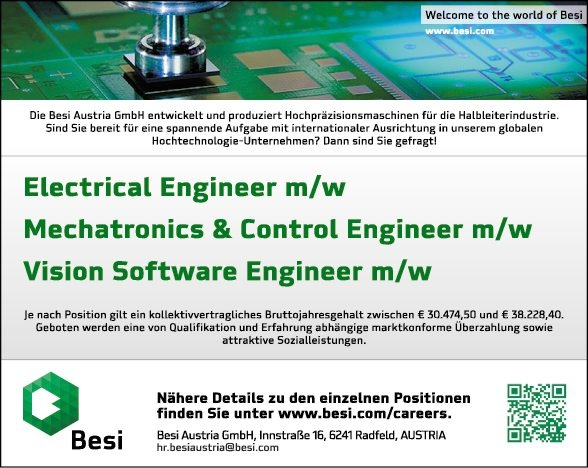 Electrical Engineer m/w & Mechatronics & Control Engineer m/w & Vision Software Engineer m/w