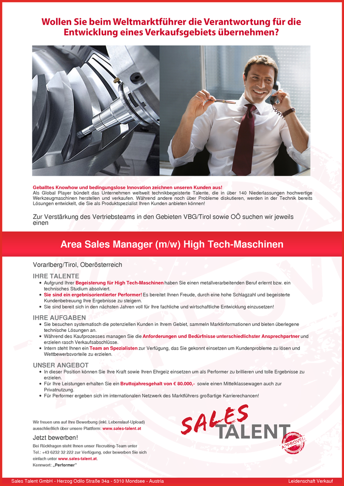 Area Sales Manager (m/w) High Tech-Maschinen