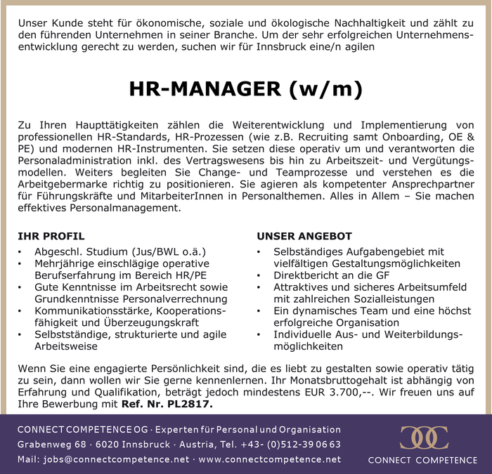 HR-MANAGER (w/m)