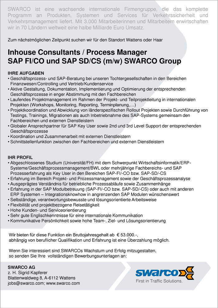 Inhouse Consultants / Process Manager SAP FI/CO und SAP SD/CS (m/w) SWARCO Group