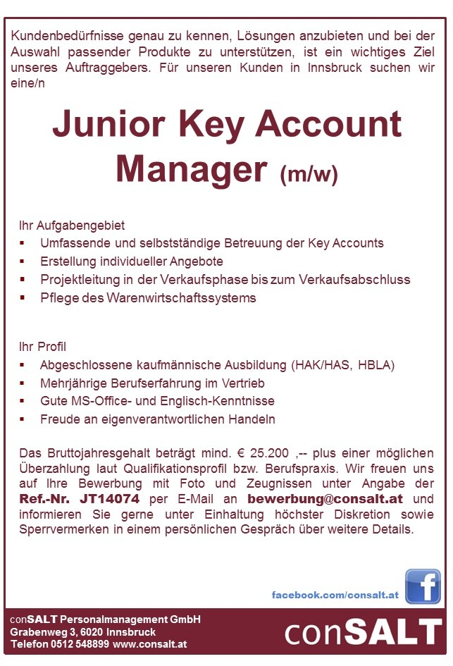 Junior Key Account Manager (m/w)