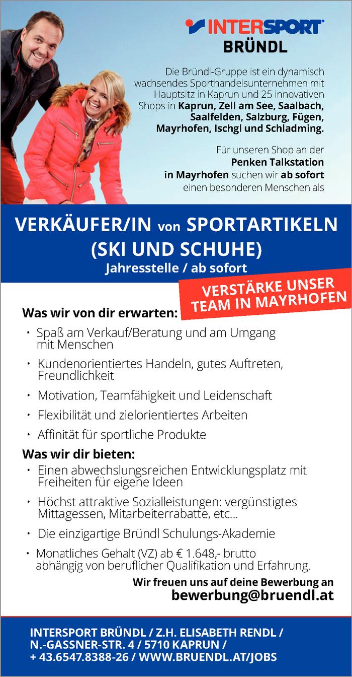 Verkäuferin Sportartikel Ski Und Schuhe Im Bezirk Schwaz Bewirb