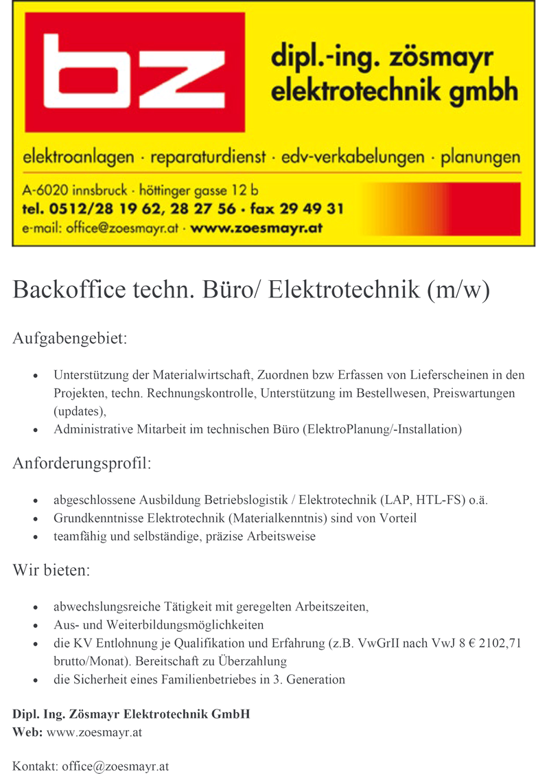 Backoffice techn. Büro/ Elektrotechnik (m/w)