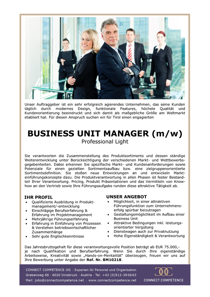 BUSINESS UNIT MANAGER (m/w) Professional Light