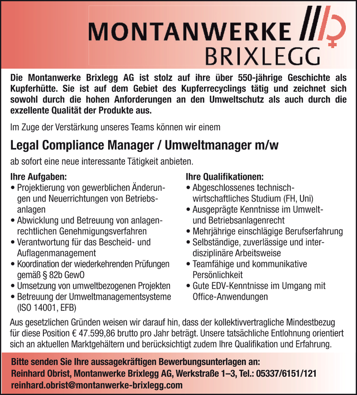 Legal Compliance Manager/ Umweltmanager m/w