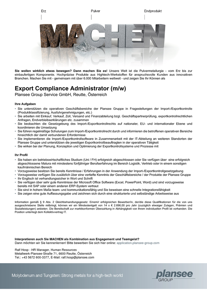 Export Compliance Administrator (m/w)