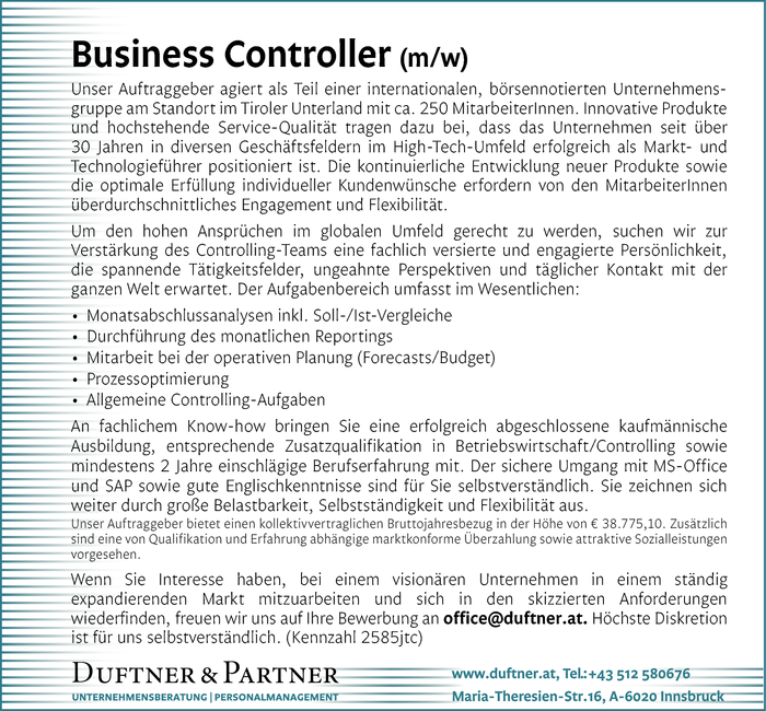 Business Controller (m/w)