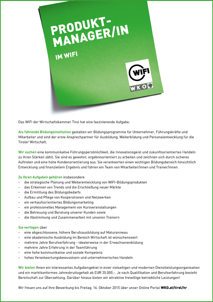 Produktmanager/in im WIFI