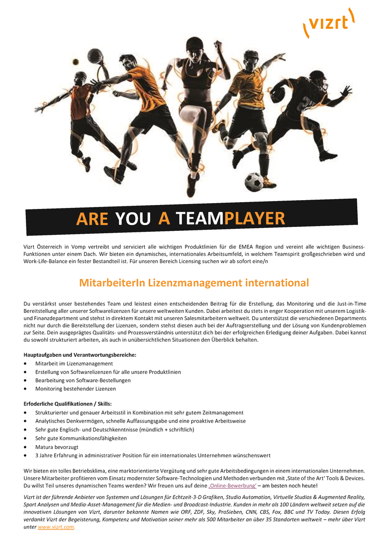 MitarbeiterIn Lizenzmanagement international