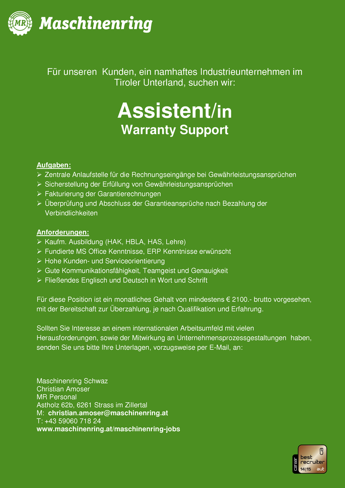 Assistent/in Warranty Support
