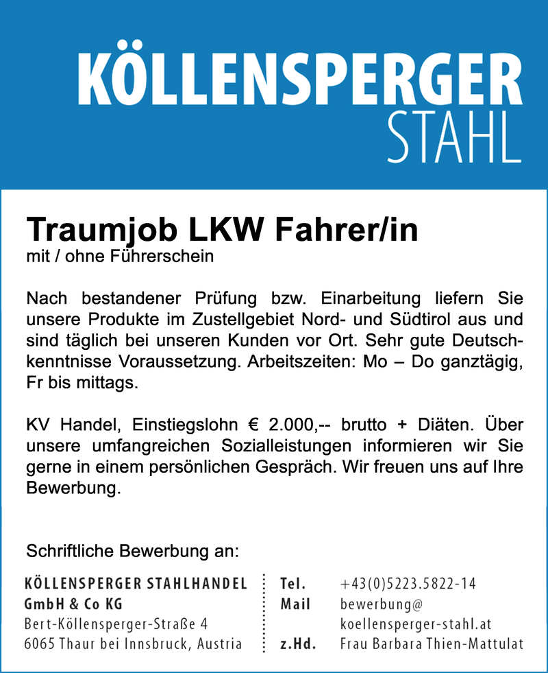 Traumjob LKW Fahrer/in