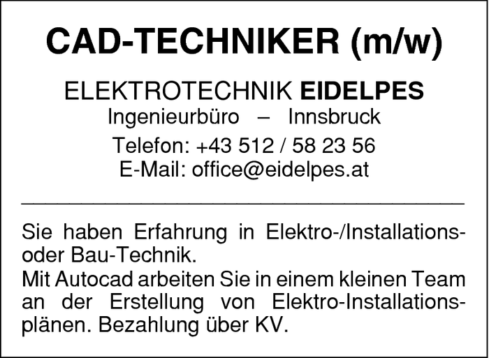 Elektro-/Installations- oder Bau-Techniker/in