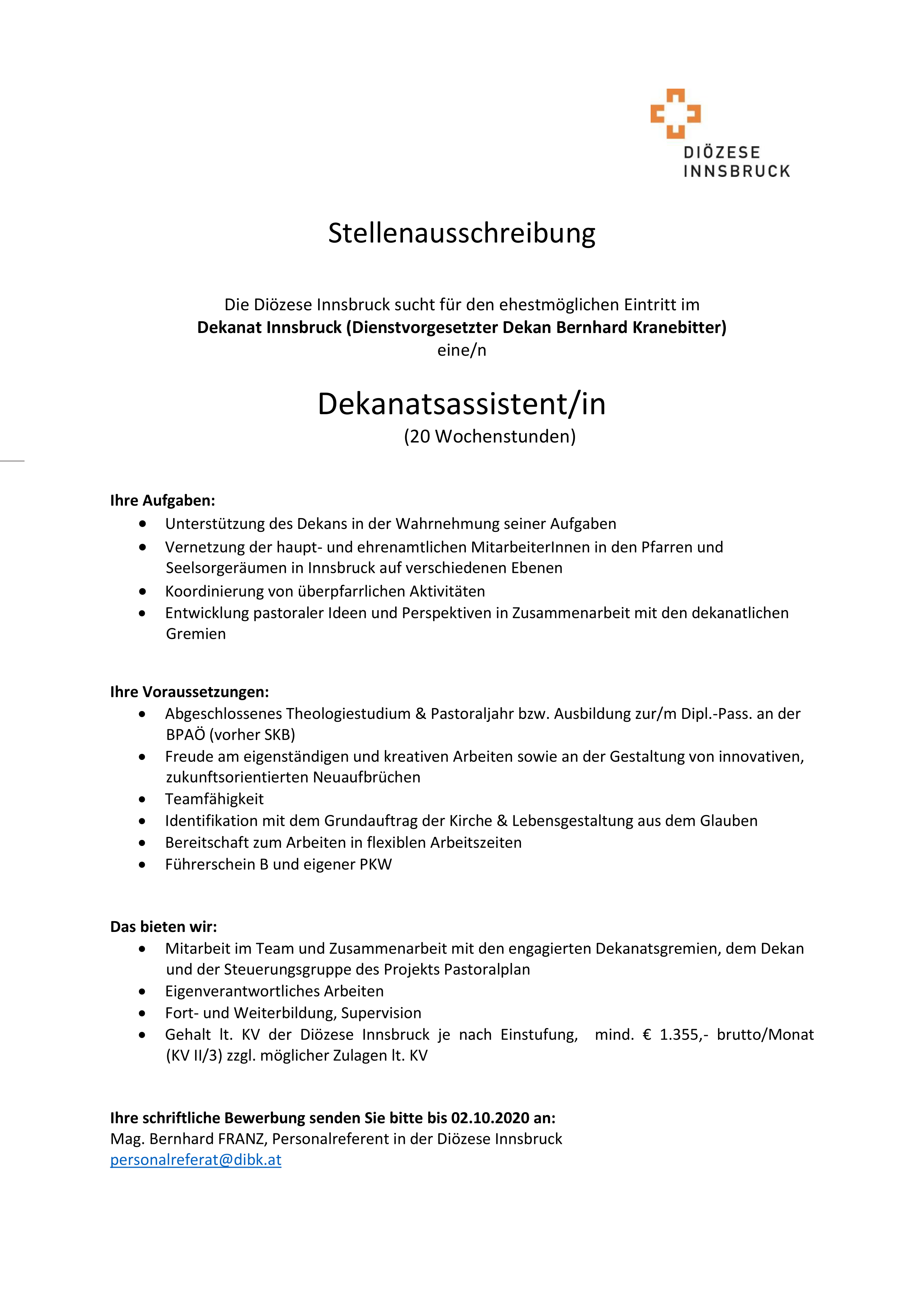 Dekanatsassistent/in