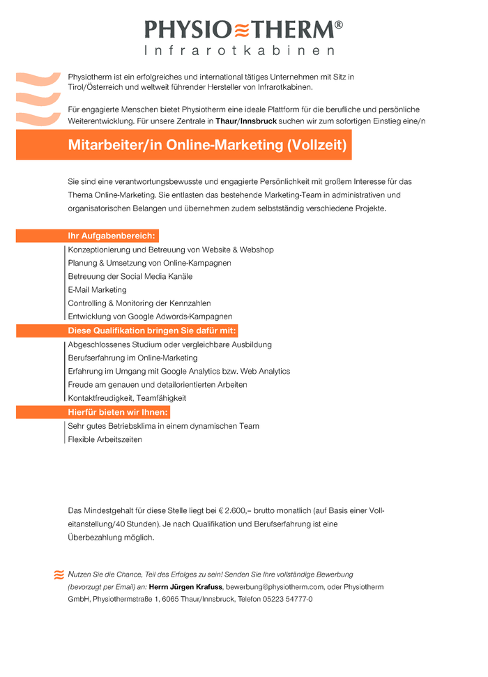 Mitarbeiter/in Online Marketing (in Vollzeit)