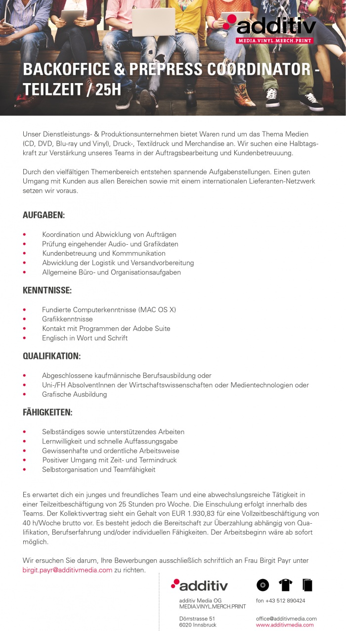 Backoffice & Prepress Coordinator / Teilzeit 25 h