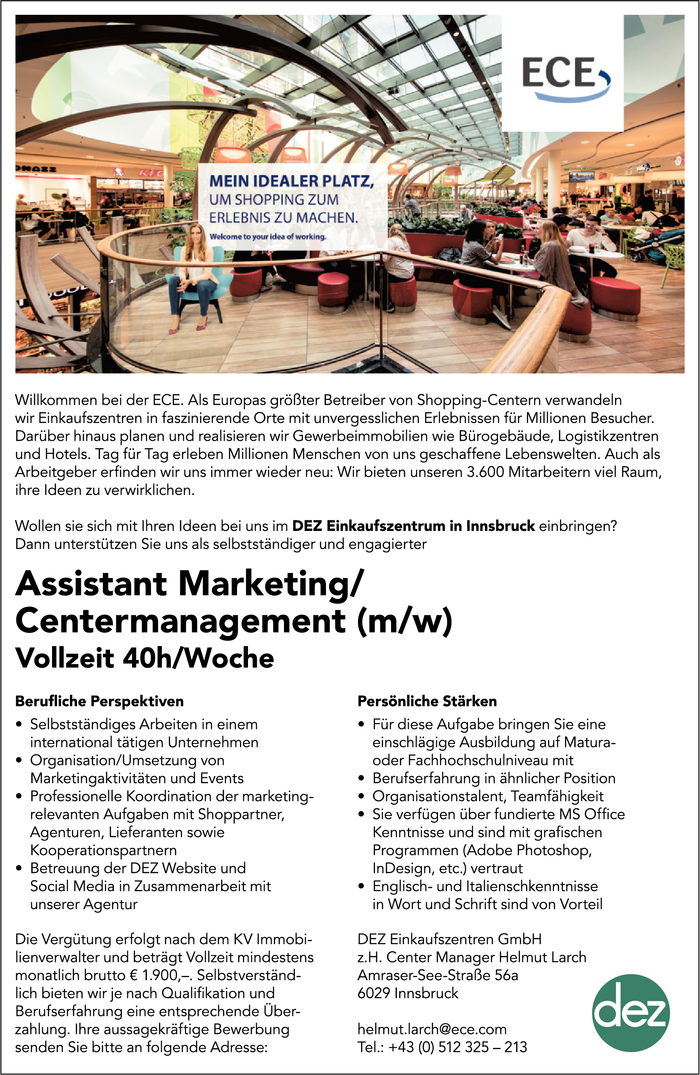 Assistant Marketing/ Centermanagement (m/w)