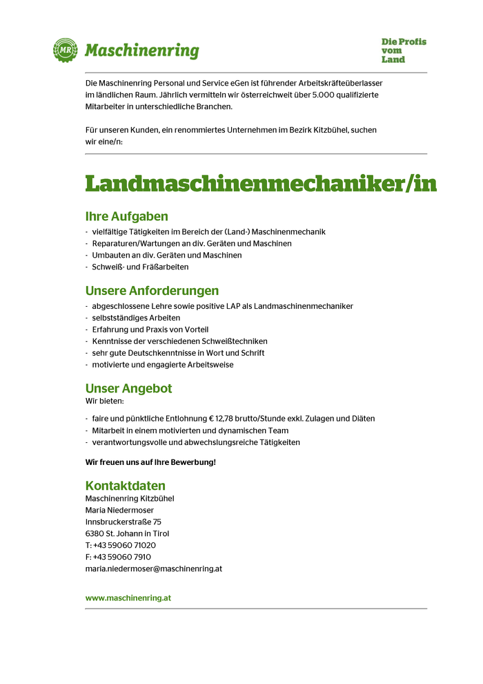 Landmaschinenmechaniker/in