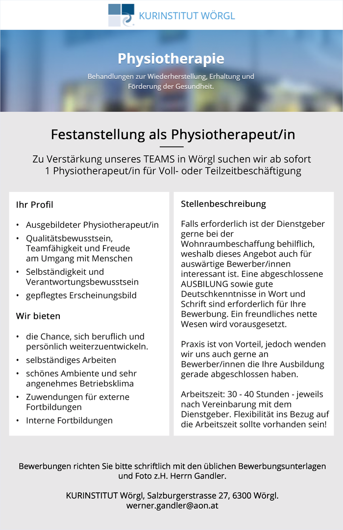 Festanstellung als Physiotherapeut/in