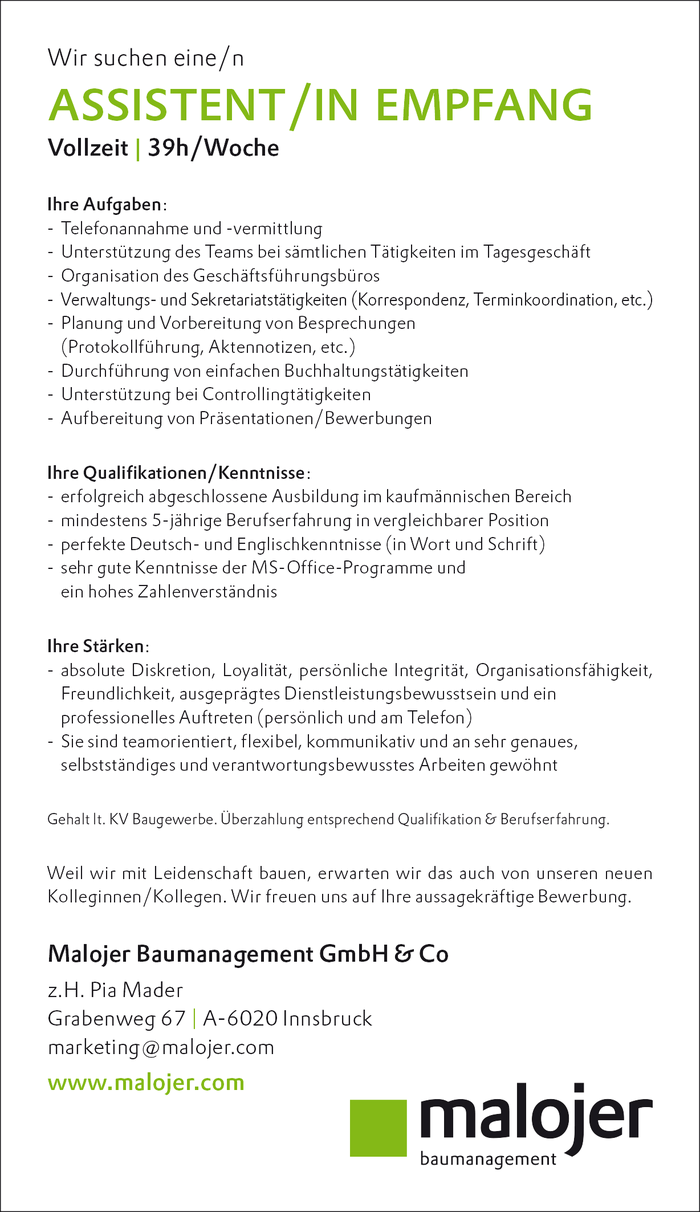ASSISTENT/IN EMPFANG