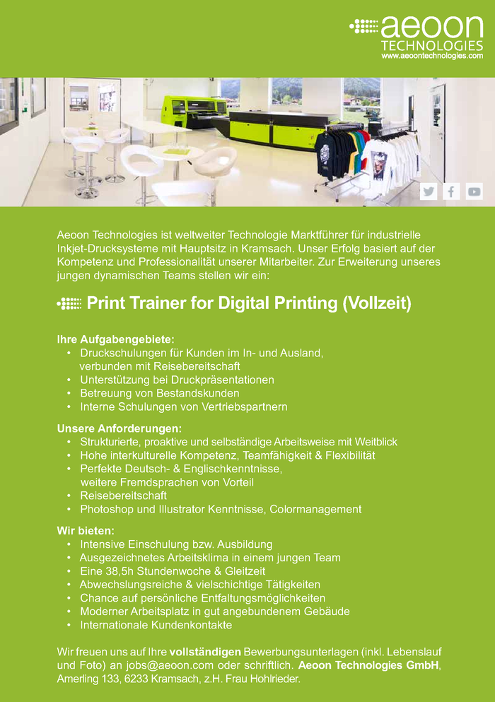 Print Trainer for Digital Printing (Vollzeit)
