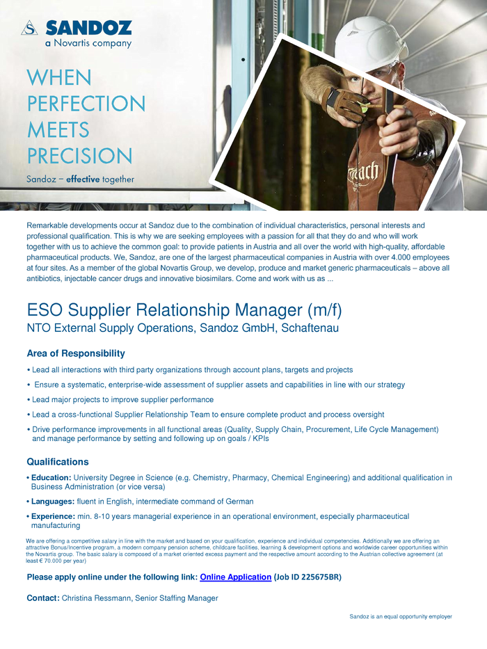 ESO Supplier Relationship Manager (m/f)