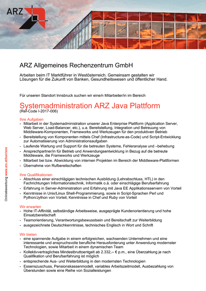 Systemadministration ARZ Java Plattform