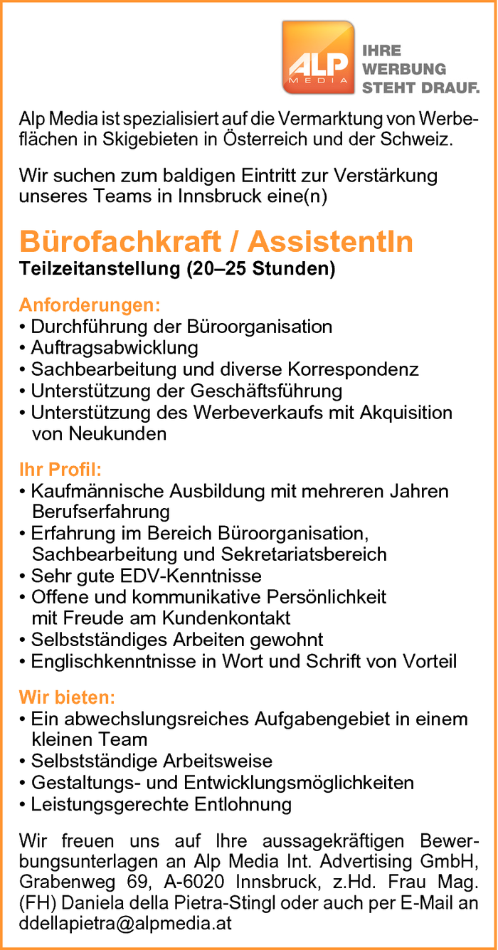 Bürofachkraft / AssistentIn