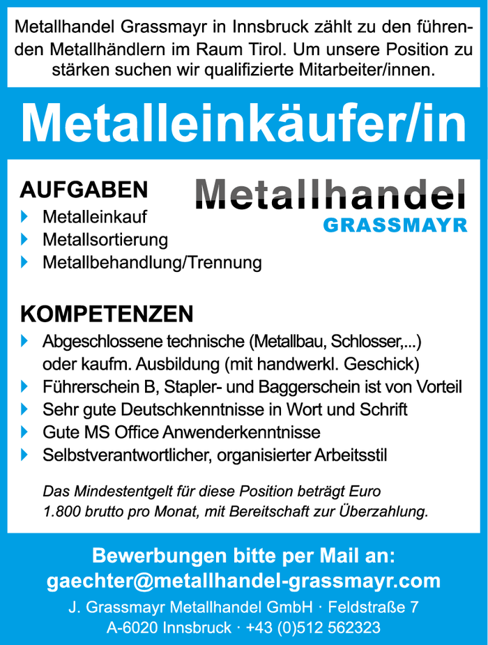 Metalleinkäufer/in
