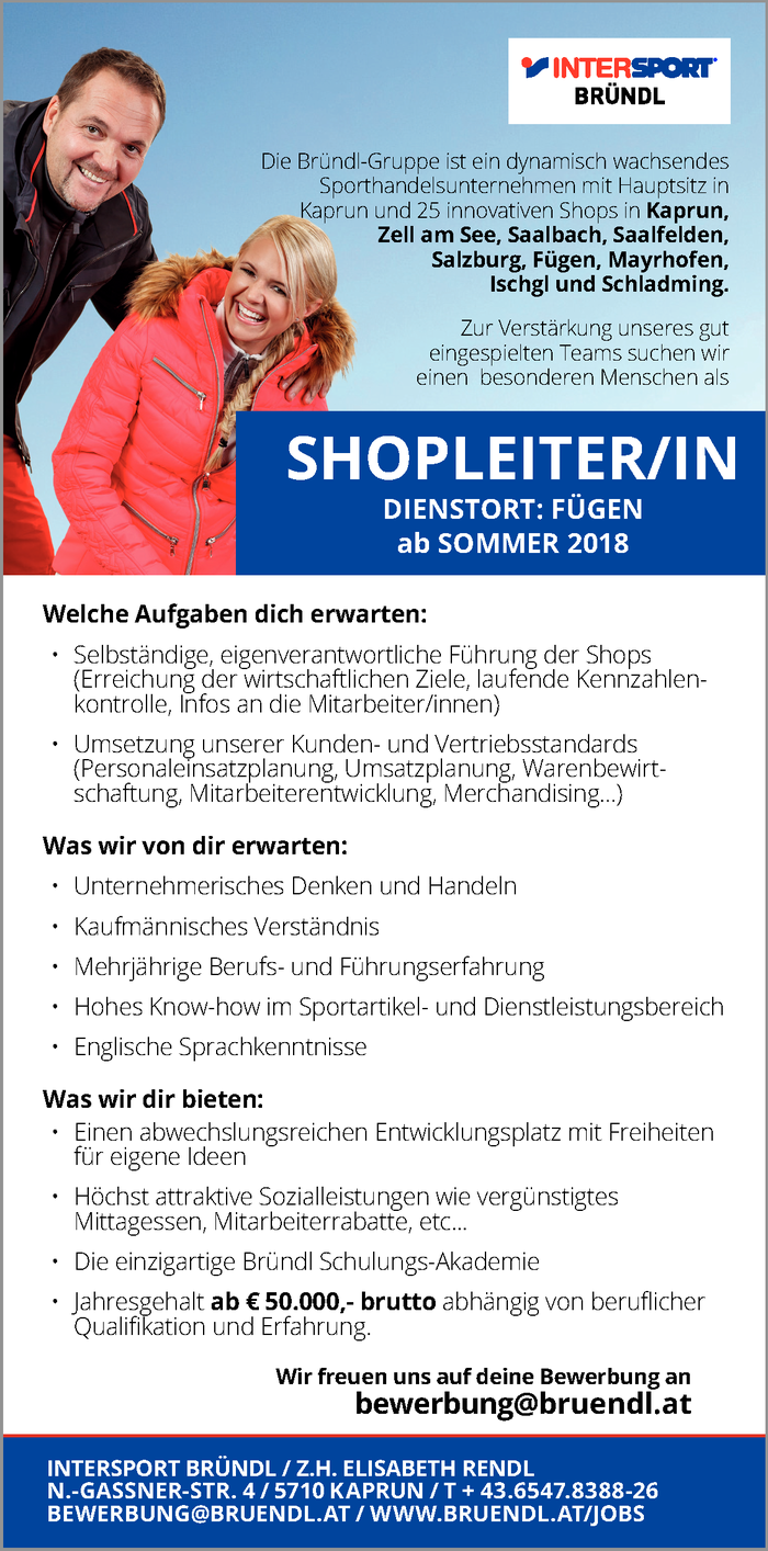 Shopleiter/in