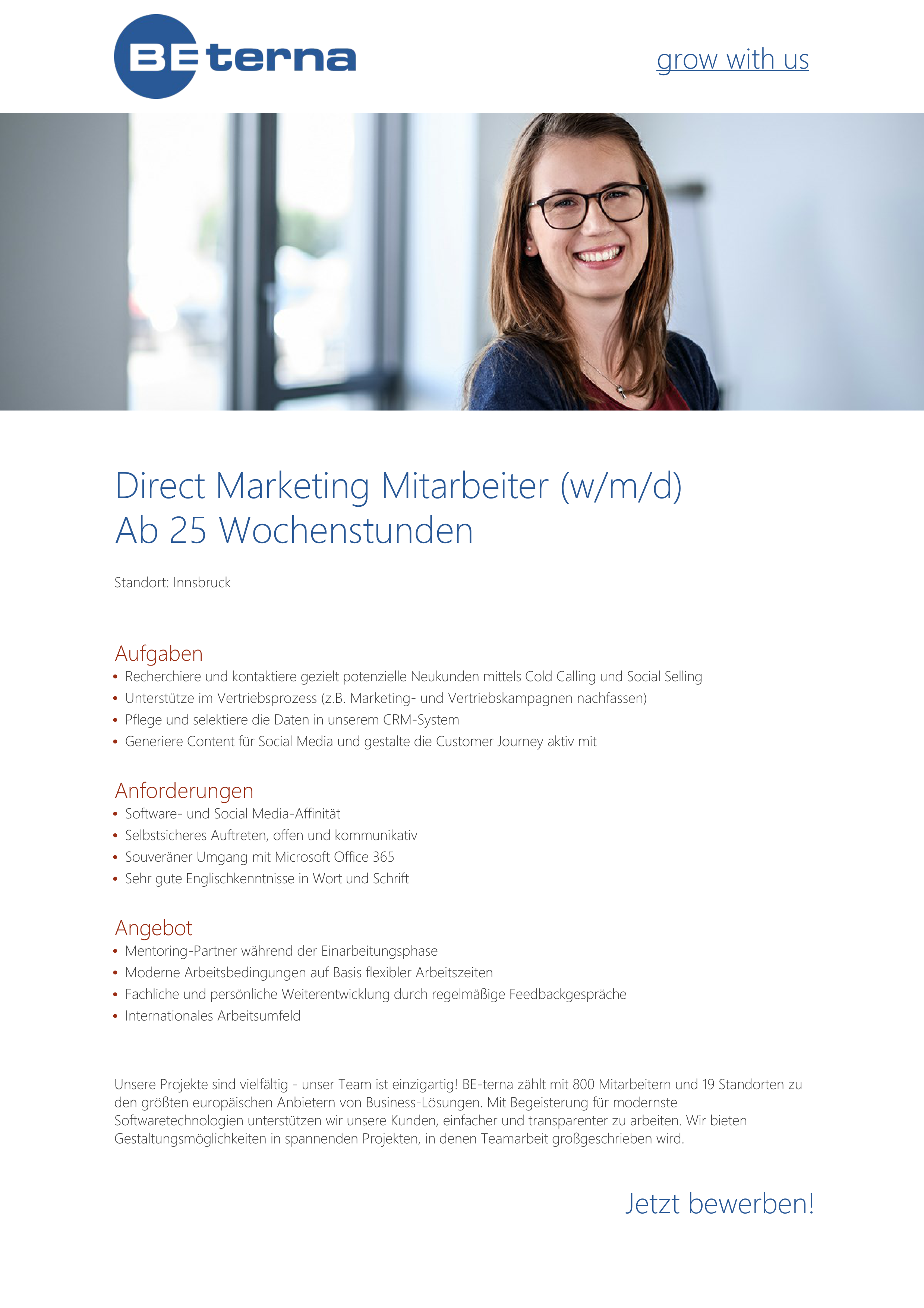 Direct Marketing Mitarbeiter (w/m/d), Ab 25 Wochenstunden