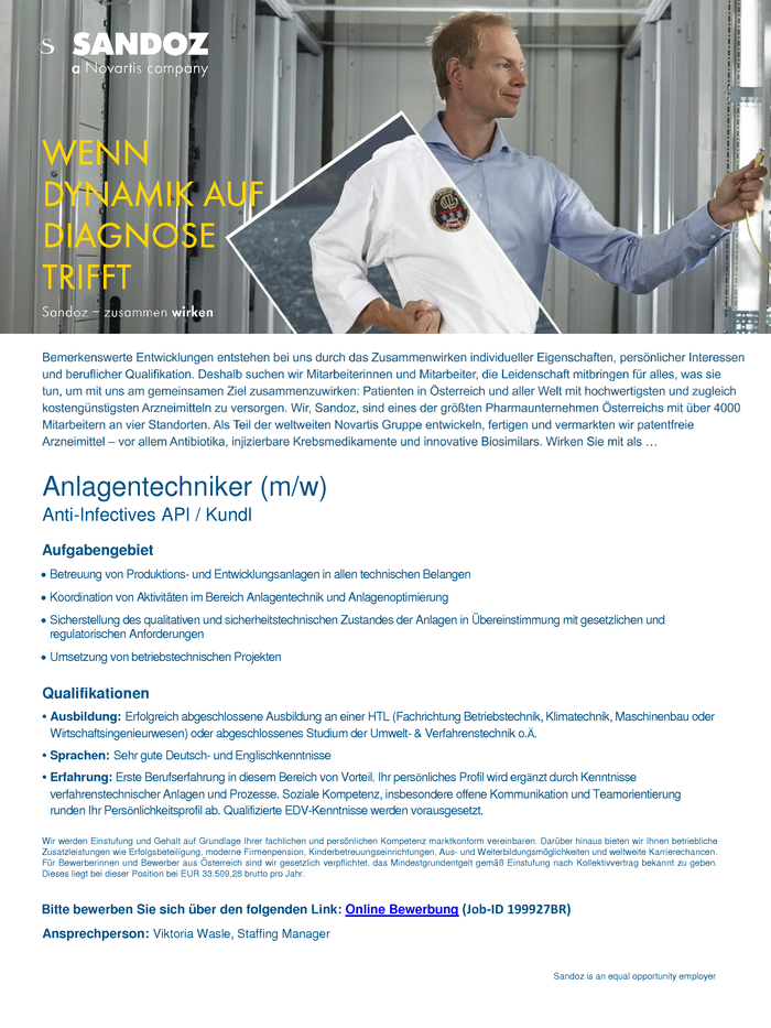 Anlagentechniker (m/w) Anti-Infectives API / Kundl