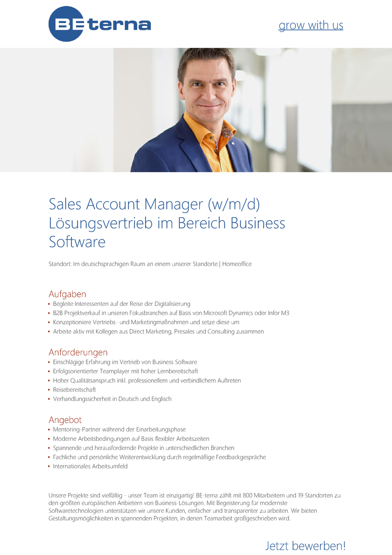 Sales Account Manager (w/m/d) Lösungsvertrieb im Bereich Business Software