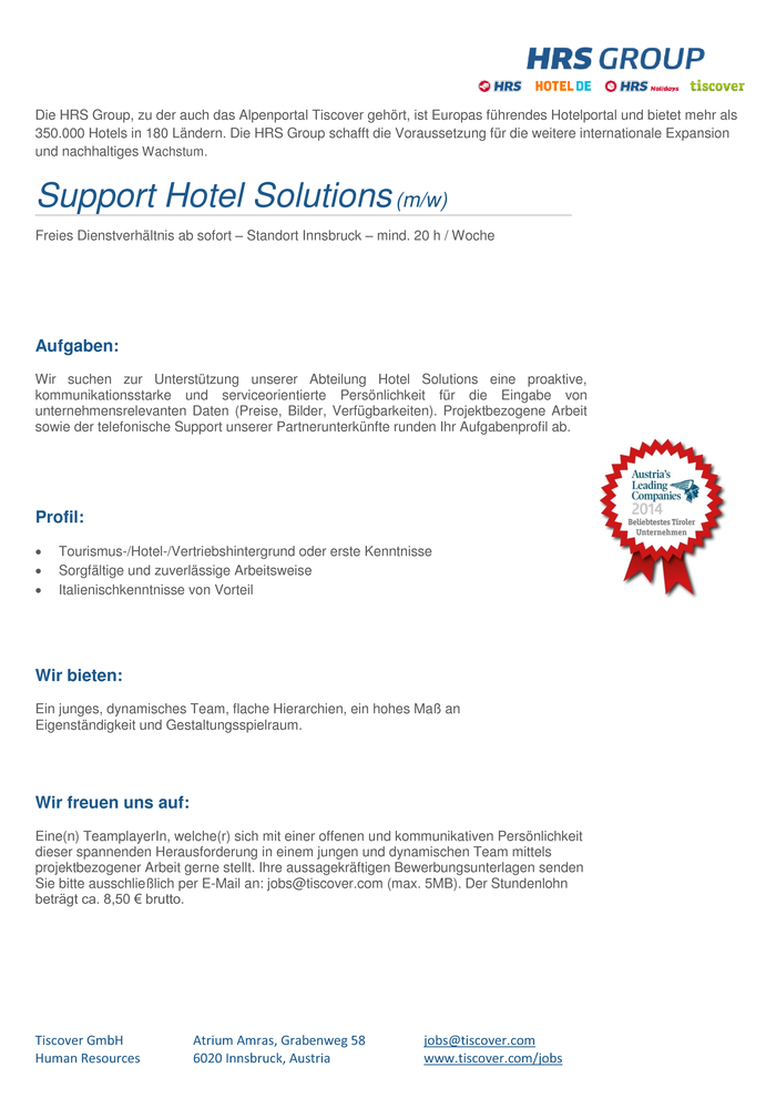 Support Hotel Solutions (m/w)