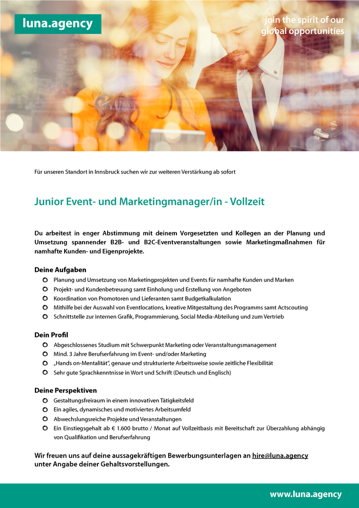 Junior Event- und Marketingmanager/in - Vollzeit