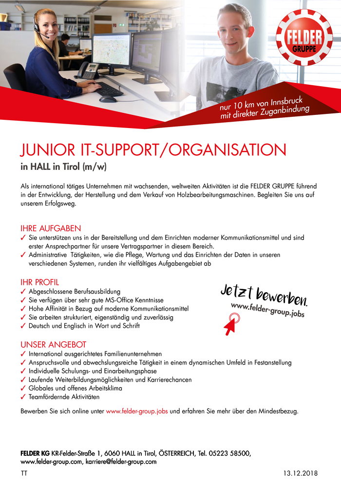 JUNIOR IT-SUPPORT/ORGANISATION