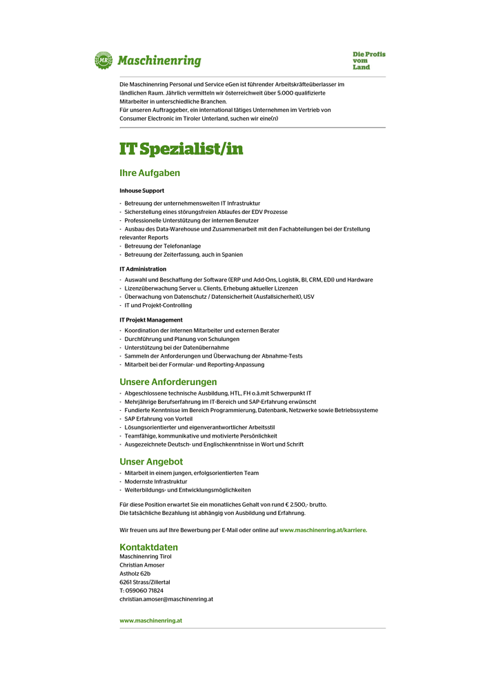 IT Spezialist (m/w)