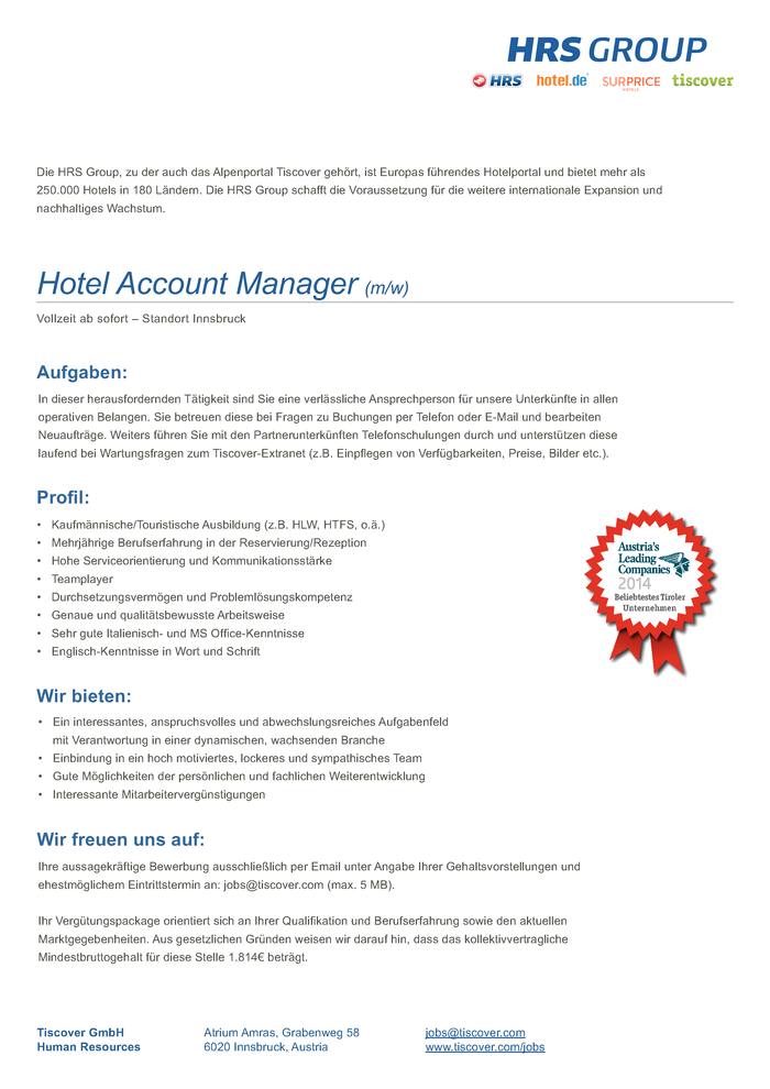 Hotel Account Manager (m/w)