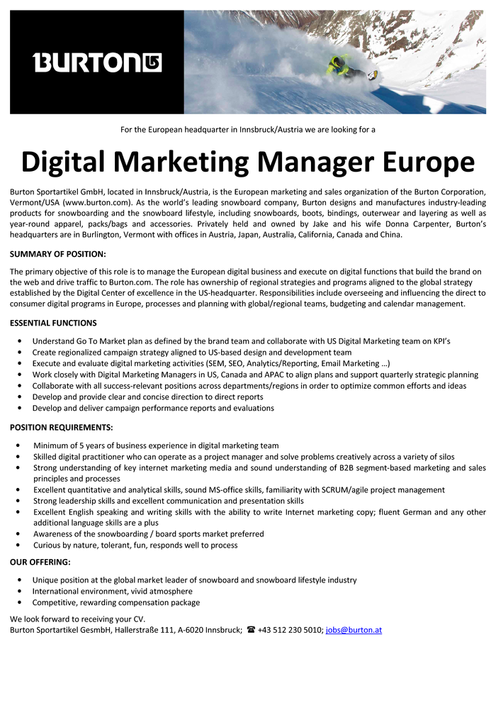 Digital Marketing Manager Europe (f/m)