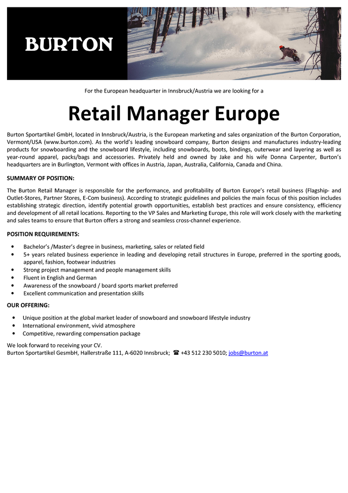 Retail Manager Europe