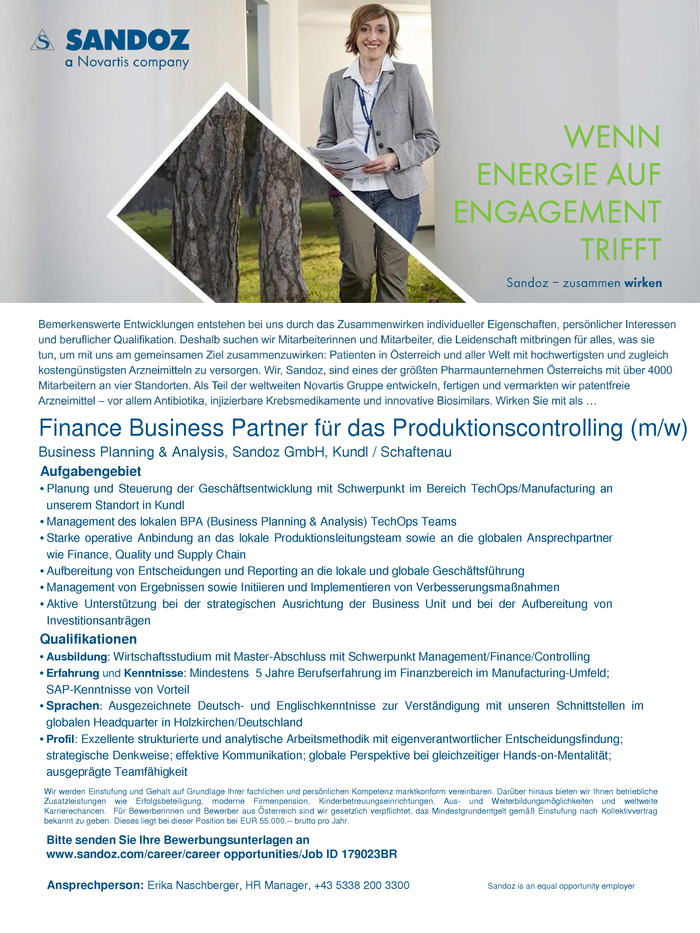Finance Business Partner für das Produktionscontrolling (m/w)