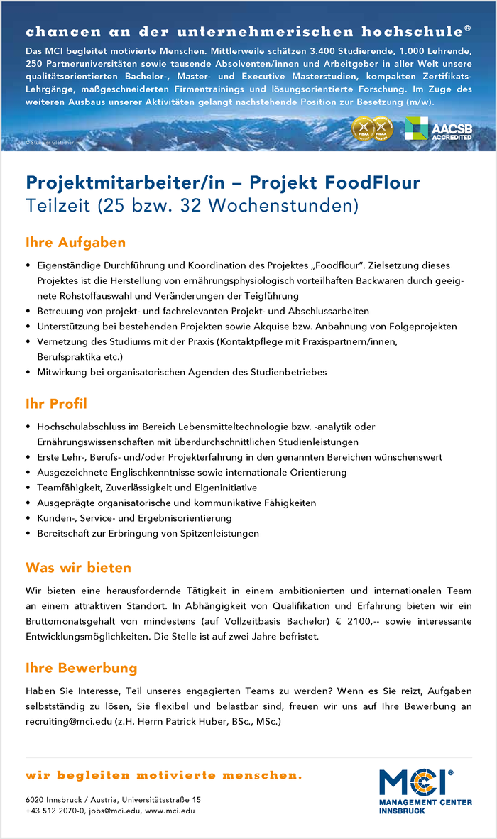 Projektmitarbeiter/in - Projekt FoodFlour