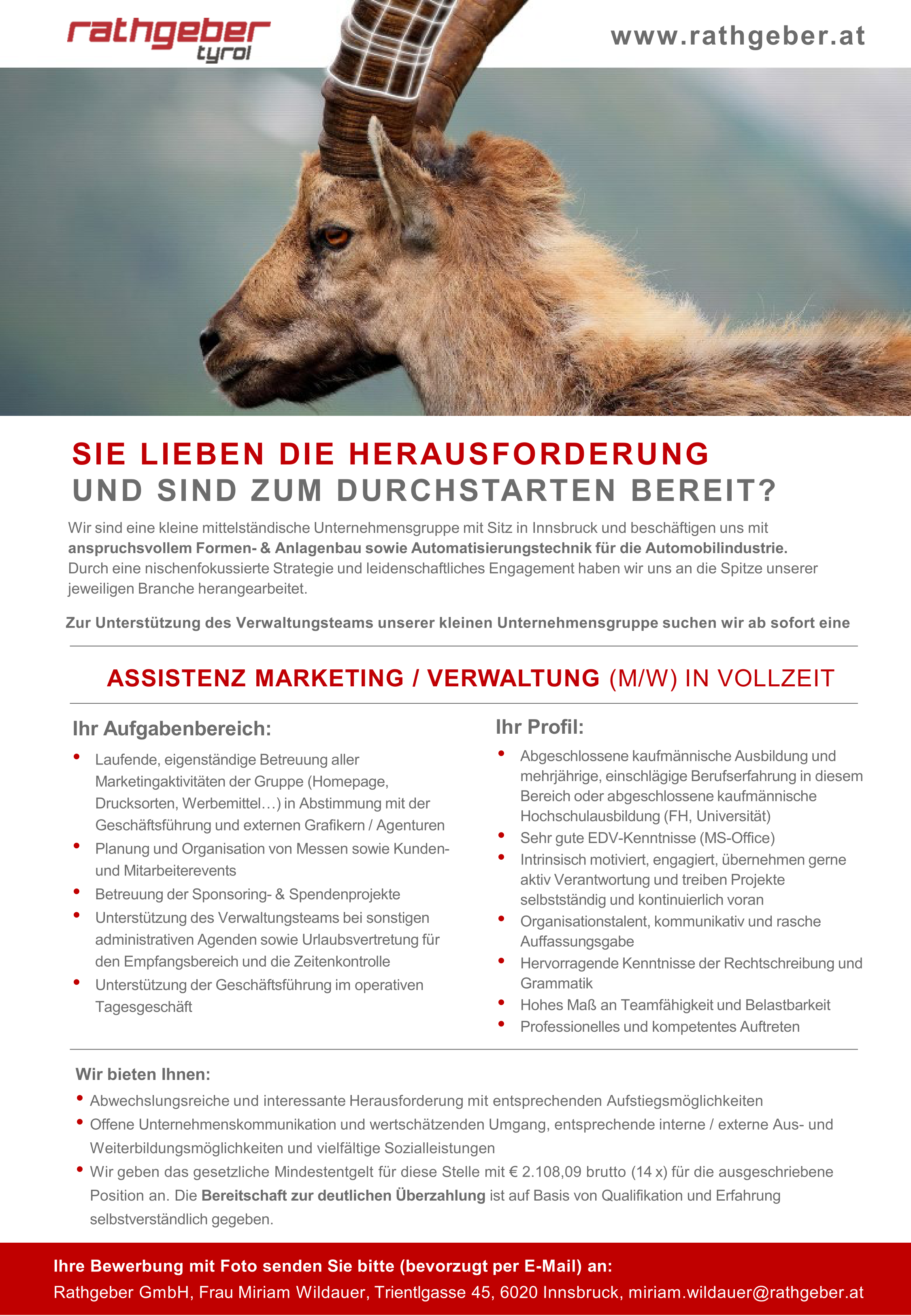 ASSISTENZ MARKETING / VERWALTUNG (m/w)