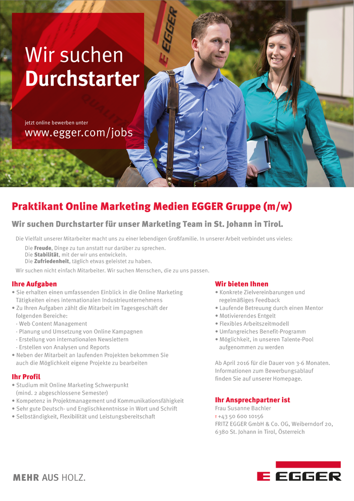 Praktikant Online Marketing Medien EGGER Gruppe (m/w)