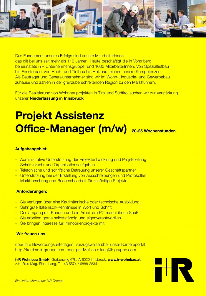 Projekt Assistenz / Office Manager (m/w)