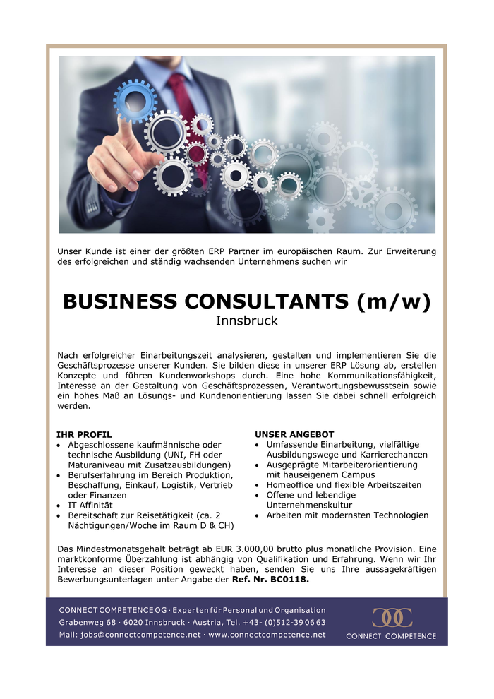 BUSINESS CONSULTANTS (m/w) Innsbruck