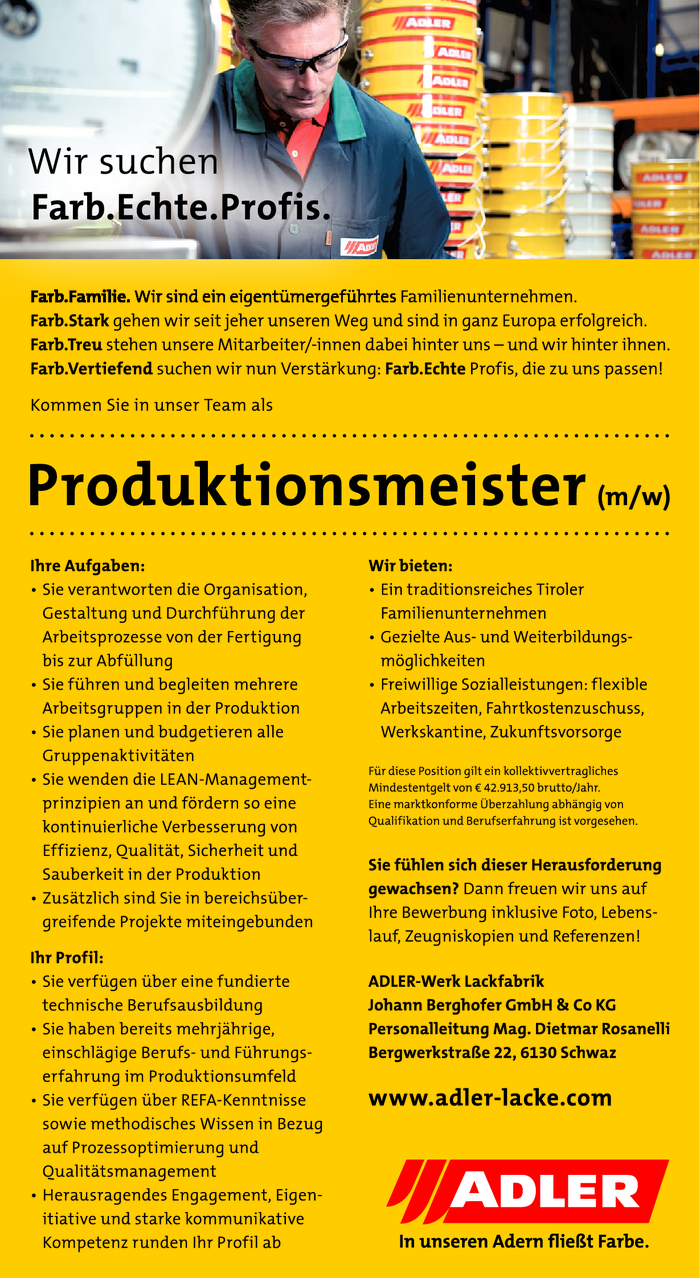 Produktionsmeister (m/w)