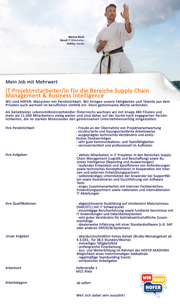 IT Projektmitarbeiter/in für die Bereiche Supply Chain Management & Business Intelligence