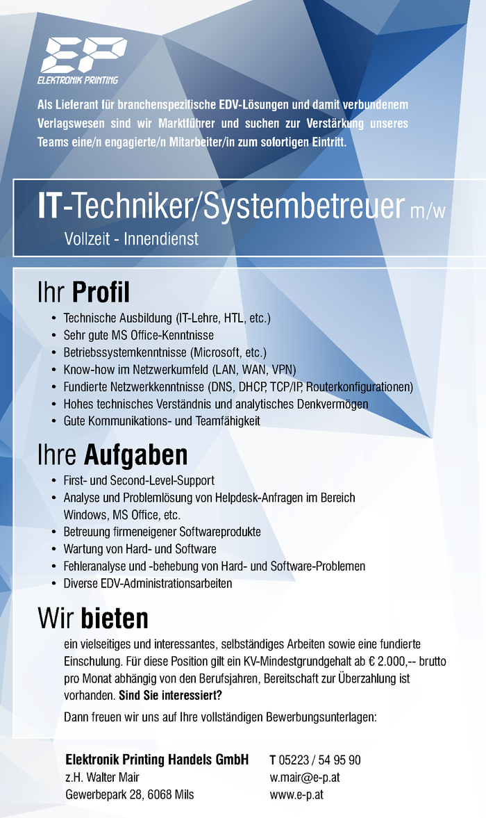 IT-Techniker/Systembetreuer m /w