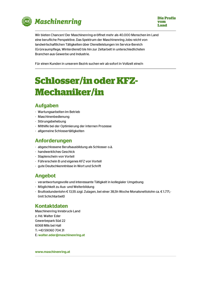 Schlosser/in oder KFZ-Mechaniker/in